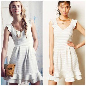 Anthropologie Maeve White Striped Sunland Dress